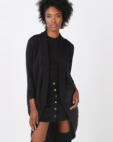 Lila Rose Long Cardi Robe Black