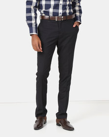 Jonathan D Flat Front Tailored Fit Formal Trousers Black