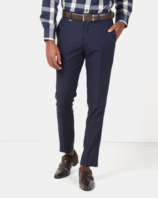 Jonathan D Flat Front Tailored Fit Formal Trousers Navy
