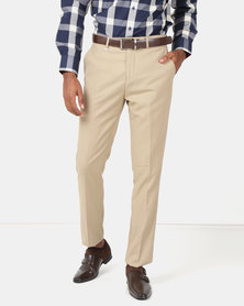 Jonathan D Flat Front Tailored Fit Formal Trousers Stone