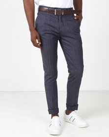 Jonathan D Flat Front Tailored Fit Check Trouser Navy