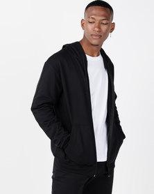 Utopia Basic Fleece Zip Through Hoodie Black