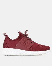 Pierre Cardin Sporty Knit Sneakers Mono Burgundy