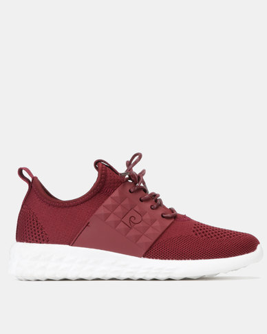 Pierre Cardin Sporty Knit Sneakers Mono Burgundy