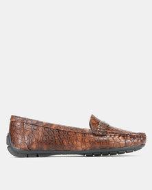 Pierre Cardin Comfort Faux Croc Trim Moccasins Shoes Brown