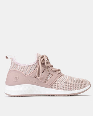 0f9d226ad95a Pierre Cardin Cage Trim Knit Sneakers Pink