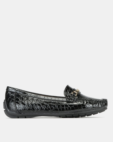 Pierre Cardin Comfort Patent Faux Croc Trim Moccasins Shoes Black