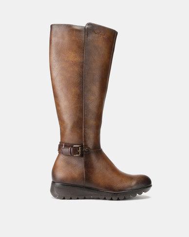 Pierre Cardin Belt Trim Long Boots Brown