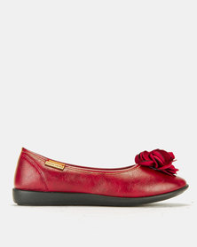 Pierre Cardin Super Comfort Flower Pumps Burgundy