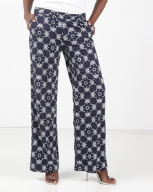Maya Prass Helena Wide-Leg Trousers Navy