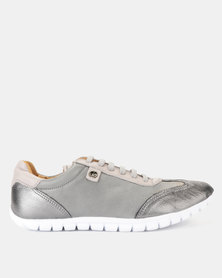 Tsonga Leather Megange Sneakers Highrise Vintage & Anthracite Metal Grain