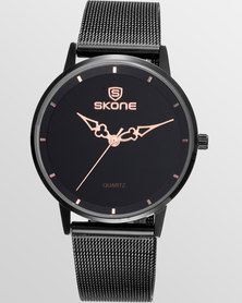 Skone Oxford Ladies Black Chain Watch - Rose Gold Detail