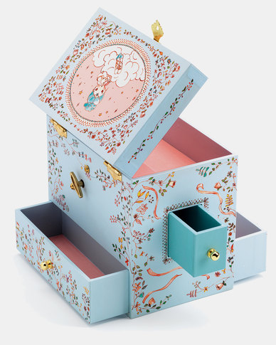 Djeco Wooden Musical Jewellery Box -Large Ballerina on stage