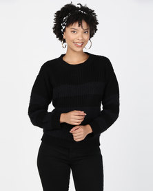 Utopia Fluffy Self Stripe Jumper Black