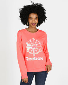 Reebok Classics French Terry Big Logo Crew Sweatshirt Red