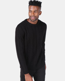 Utopia Black Cable Knitwear Jumper Black