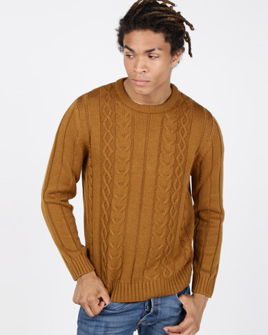Utopia Cable Knitwear Jumper Camel