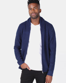 Utopia Zip Through Cardigan Navy Melange