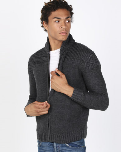 Utopia Melange Zip Through Cardigan Charcoal Grey