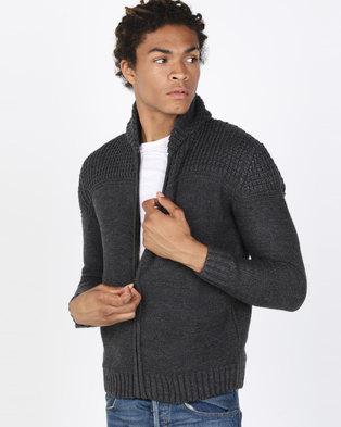 b49342773 Utopia Melange Zip Through Cardigan Charcoal Grey