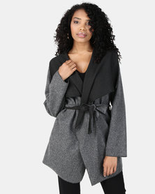 Revenge Wrap Front Duster Jacket Grey/Black