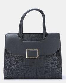 Blackcherry Bag Faux Croc Satchel Bag Black