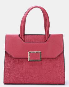Blackcherry Bag Faux Croc Satchel Bag Dark Red