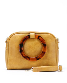 Blackcherry Bag Tort Detail Crossbody Bag Mustard