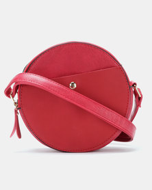Blackcherry Bag Faux Suede Contrast Circle Crossbody Bag Red