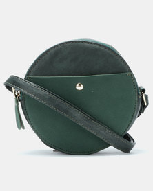 Blackcherry Bag Faux Suede Contrast Circle Crossbody Bag Teal