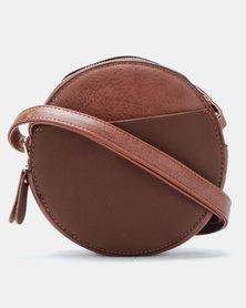 Blackcherry Bag Faux Suede Contrast Circle Crossbody Bag Coffee
