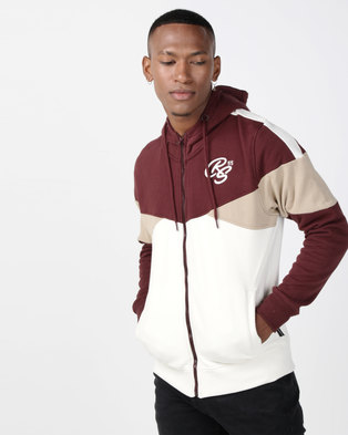 Crosshatch Fernvale Panelled Zip Through Hoody Deep Red