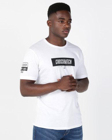 Crosshatch Divert Block Stripe T-Shirt White