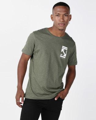 Crosshatch Olavo Slub T-Shirt Beetle Green