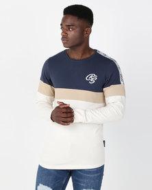 Crosshatch Kreyson Long Sleeve Panel And Tape T-shirt Navy