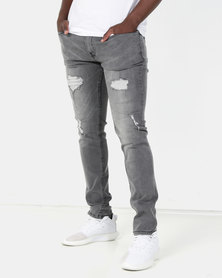 Crosshatch Raynell Ripped Skinny Jean Grey Wash