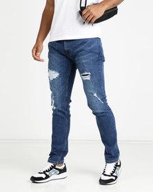 Crosshatch Raynell Ripped Skinny Jean Medium Wash