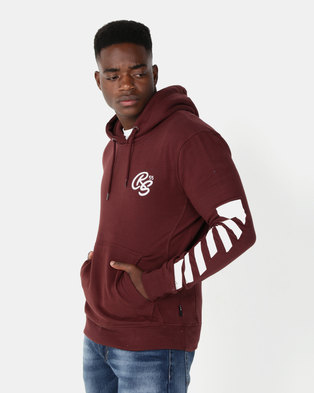 Crosshatch Laidley Hoody With Sleeve Print Deep Red