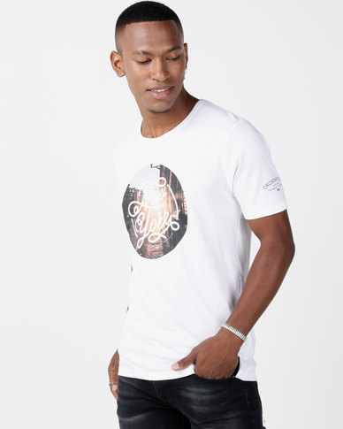 Crosshatch NY Sunset Photo Print T-shirt White