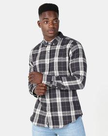 Crosshatch Hilmas Multi Check Shirt Charcoal Check