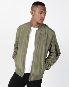 Crosshatch Boone Bomber Jacket Dusty Olive Green