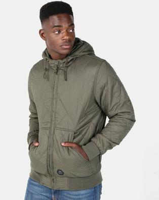 Crosshatch Quiltz Hooded Jacket Forest Night Green