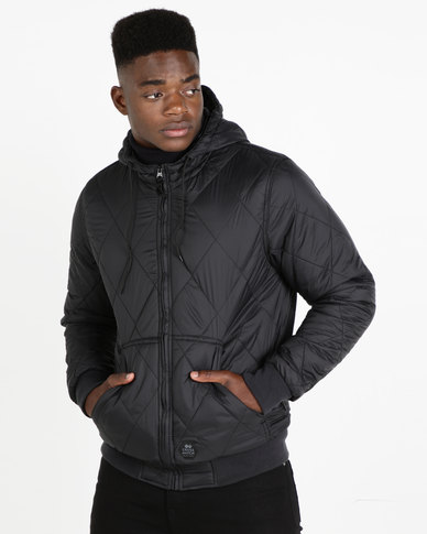 Crosshatch Quiltz Hooded Jacket Black