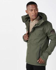 Crosshatch Rainout Waterproof Hooded Jacket Forest Night Green