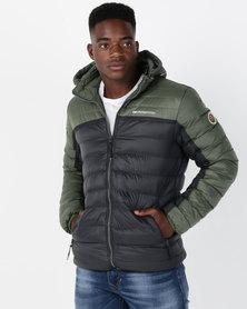 Crosshatch Pyffan Panelled Puffer Jacket Green/Black
