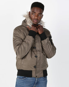 Crosshatch cackton Wadded Bomber Jacket With Hood Canteen Brown