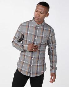 Crosshatch Klaxan Check Shirt Grey