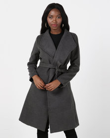 Utopia Charcoal Belted Shawl Collar Melton Coat