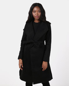 Utopia Black Belted Shawl Collar Melton Coat