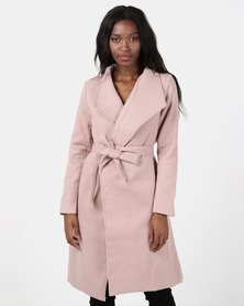 Utopia Dusty Pink Belted Shawl Collar Melton Coat